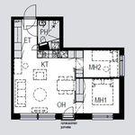 3 huoneen asunto 49 m² kaupungissa Riihimäki